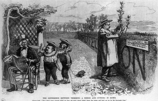 Grover Cleveland Texas Seed Bill Veto Political Cartoon The Difference Between Trimming a Hedge and Cutting It Down