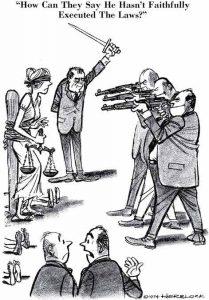 Herblock How can they say he hasn't faithfully executed the law Political Cartoon