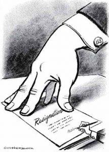 Herblock Resignation Political Cartoon