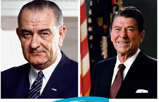 Lyndon B Johnson and Ronald Reagan Presidents