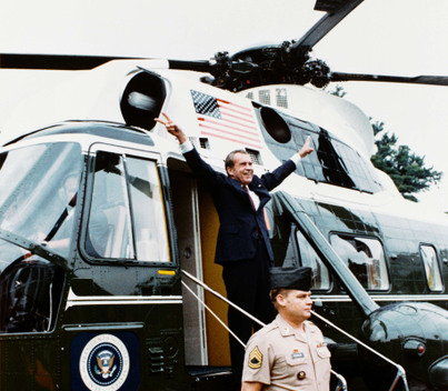 Richard Nixon Departs on Army One after Resignation