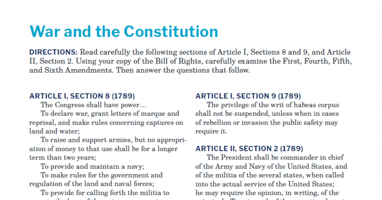 Presidents and the Constitution Constitutional Connection War and the Constitution