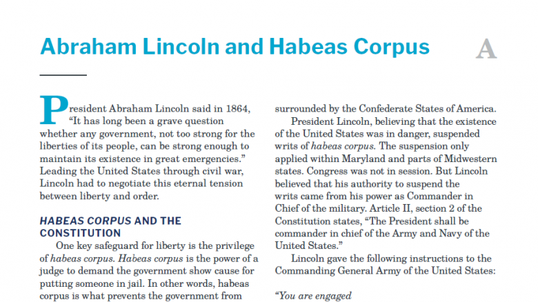 Presidents and the Constitution Handout A Abraham Lincoln and Habeas Corpus