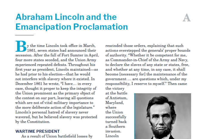 Presidents and the Constitution Handout A Abraham Lincoln and the Emancipation Proclamation