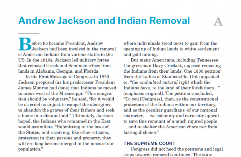 Presidents and the Constitution Handout A Andrew Jackson and Indian Removal