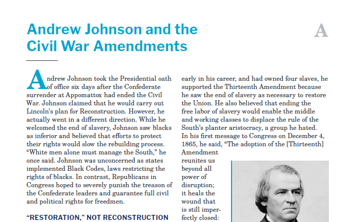 Presidents and the Constitution Handout A Andrew Johnson and the Civil War Amendments