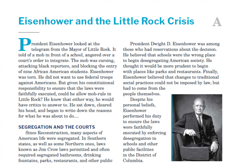 Presidents and the Constitution Handout A Dwight D Eisenhower and the Little Rock Crisis