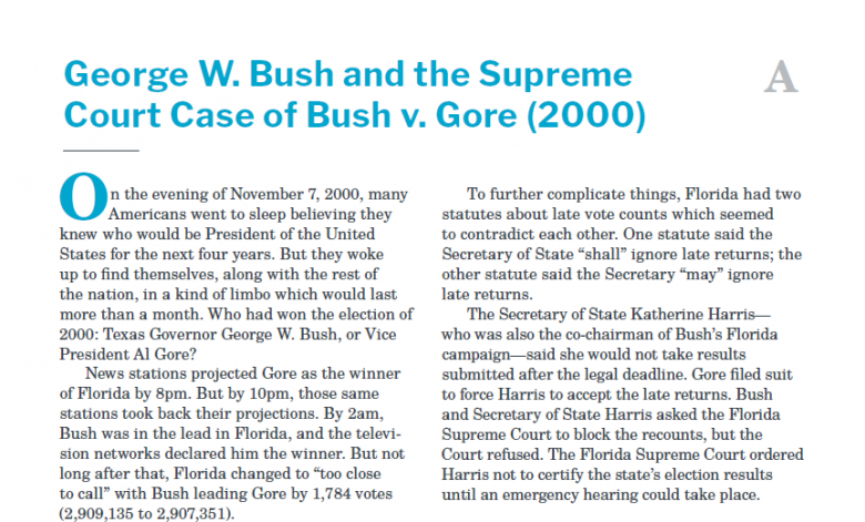 Presidents and the Constitution Handout A George W Bush and the Supreme Court Case of Bush v Gore 2000