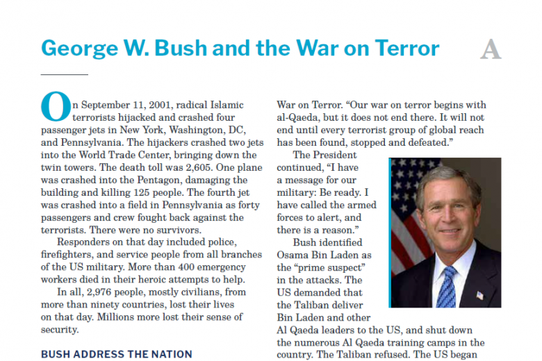 Presidents and the Constitution Handout A George W Bush and the War on Terror