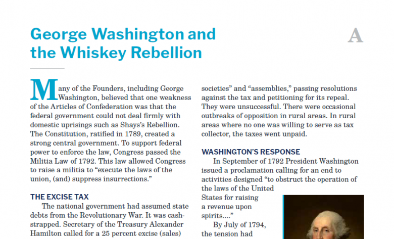 Presidents and the Constitution Handout A George Washington and the Whiskey Rebellion