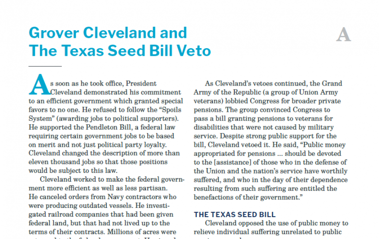 Presidents and the Constitution Handout A Grover Cleveland and the Texas Seed Bill Veto