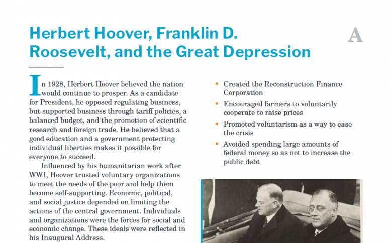 Presidents and the Constitution Handout A Herbert Hoover Franklin D Roosevelt and the Great Depression