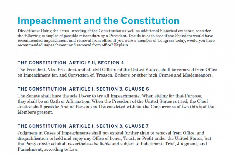 Presidents and the Constitution Handout A Impeachment and the Constitution