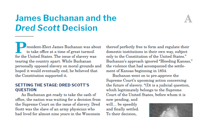 Presidents and the Constitution Handout A James Buchanan and the Dred Scott Decision