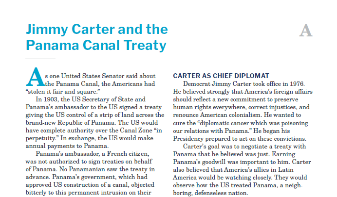 Presidents and the Constitution Handout A Jimmy Carter and the Panama Canal Treaty