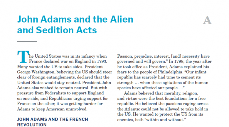 Presidents and the Constitution Handout A John Adams and the Alien and Sedition Acts