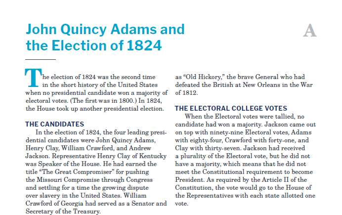 Presidents and the Constitution Handout A John Quincy Adams and the Election of 1824