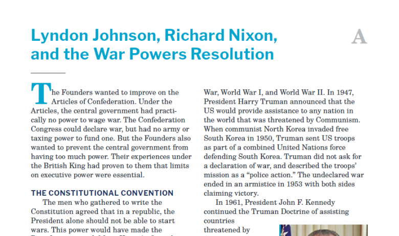 Presidents and the Constitution Handout A Lyndon Johnson Richard Nixon and the War Powers Resolution