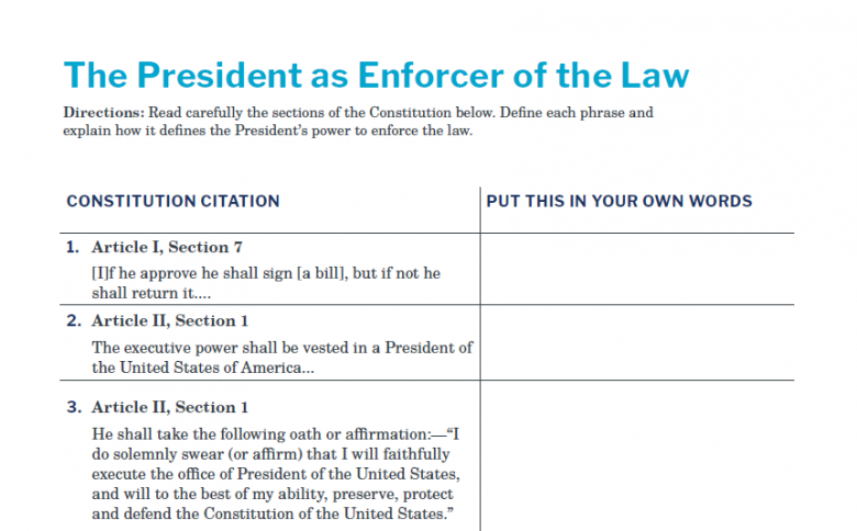 Presidents and the Constitution Handout A President as Enforcer of the Law