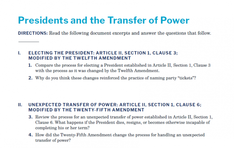 Presidents and the Constitution Handout A Presidents and the Transfer of Power