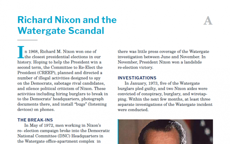 Presidents and the Constitution Handout A Richard Nixon and the Watergate Scandal