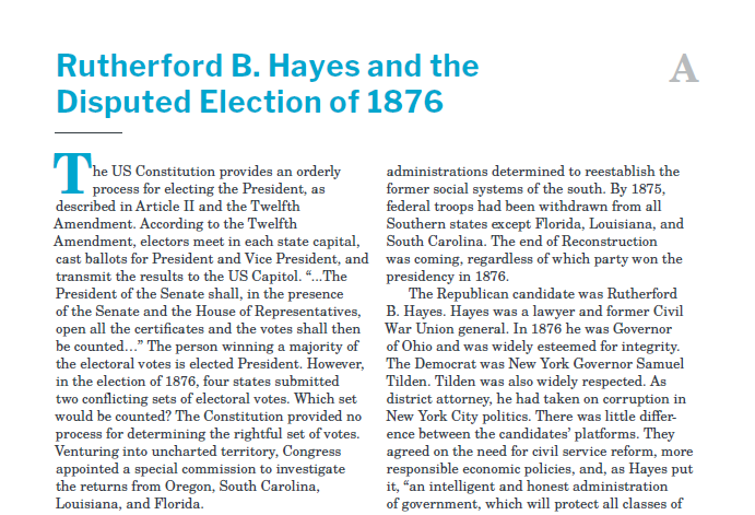 Presidents and the Constitution Handout A Rutherford B. Hayes and the Disputed Election of 1876