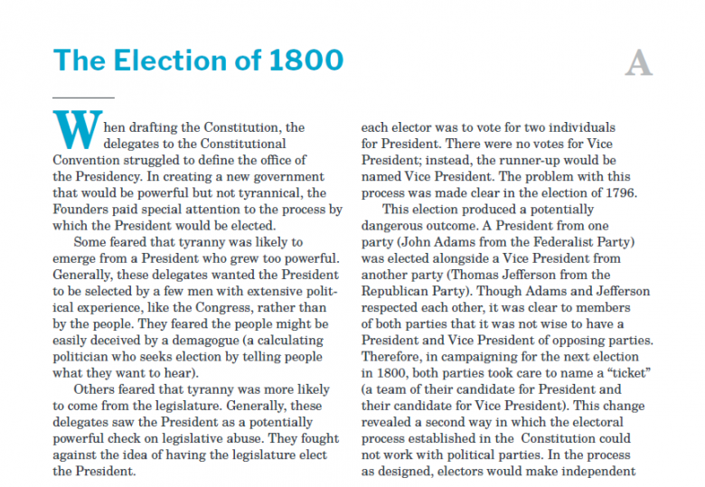 Presidents and the Constitution Handout A The Election of 1800