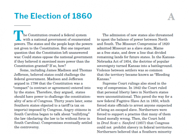 Presidents and the Constitution Handout A The Election of 1860