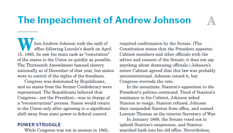 Presidents and the Constitution Handout A The Impeachment of Andrew Johnson