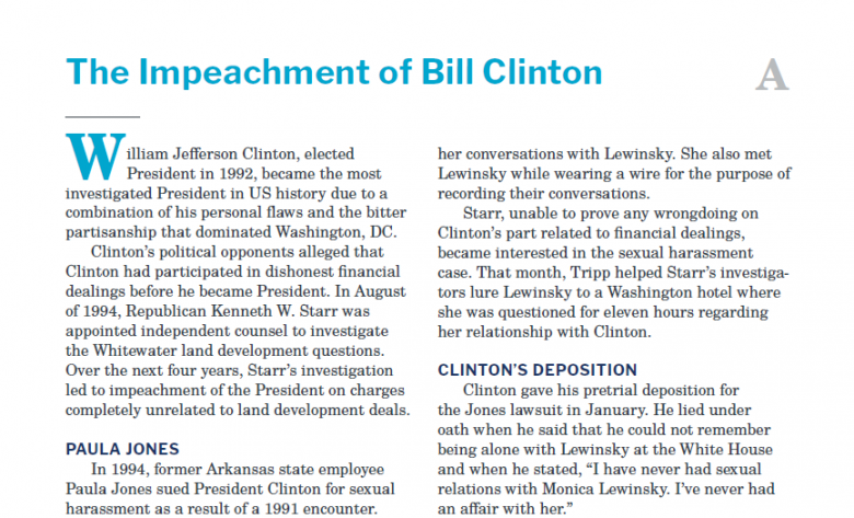 Presidents and the Constitution Handout A The Impeachment of Bill Clinton