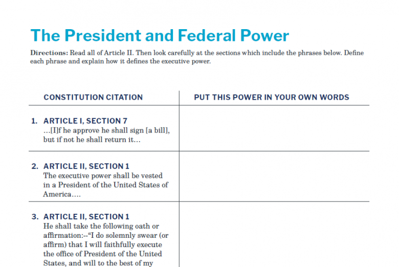 Presidents and the Constitution Handout A The President and Federal Power V2