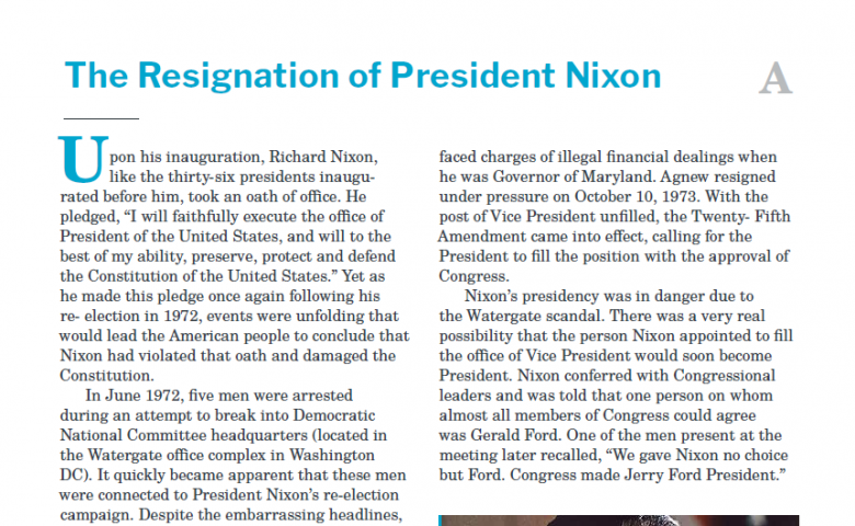 Presidents and the Constitution Handout A The Resignation of Richard Nixon