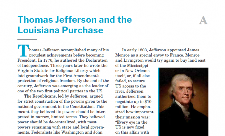 Presidents and the Constitution Handout A Thomas Jefferson and the Louisiana Purchase