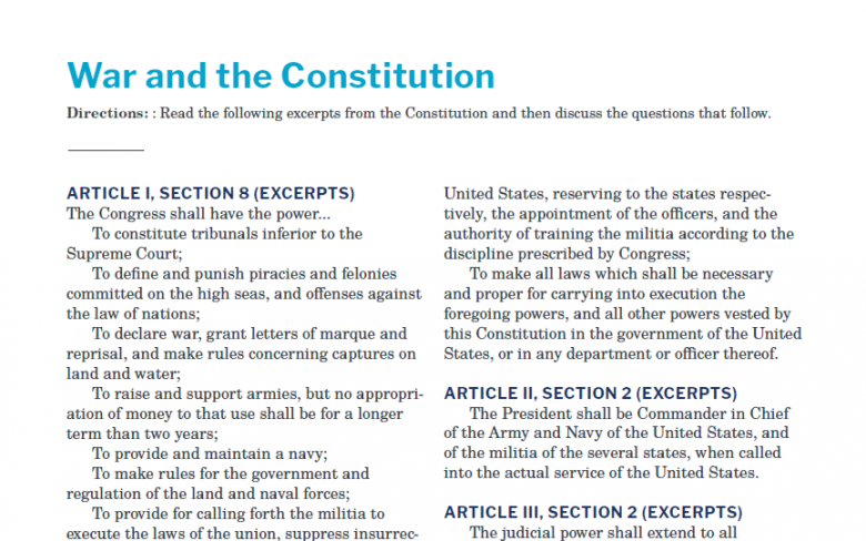 Presidents and the Constitution Handout A War and the Constitution V2