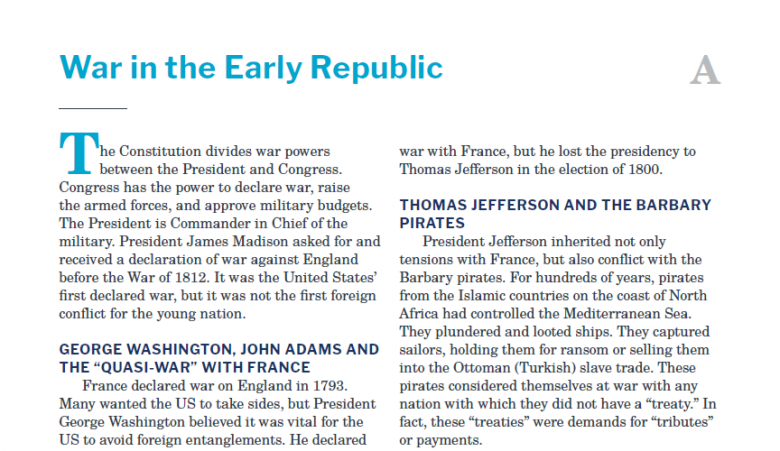 Presidents and the Constitution Handout A War in the Early Republic