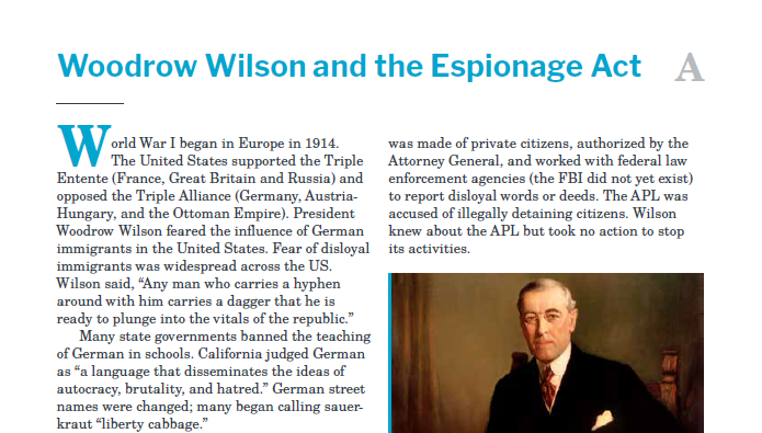Presidents and the Constitution Handout A Woodrow Wilson and the Espionage Act
