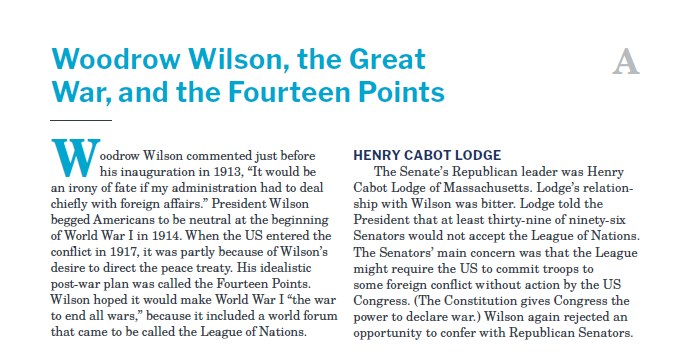 Presidents and the Constitution Handout A Woodrow Wilson the Great War and the Fourteen Points