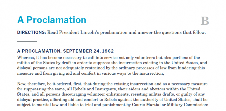 Presidents and the Constitution Handout B A Proclamation