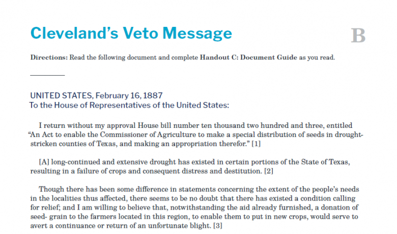 Presidents and the Constitution Handout B Cleveland's Veto Message