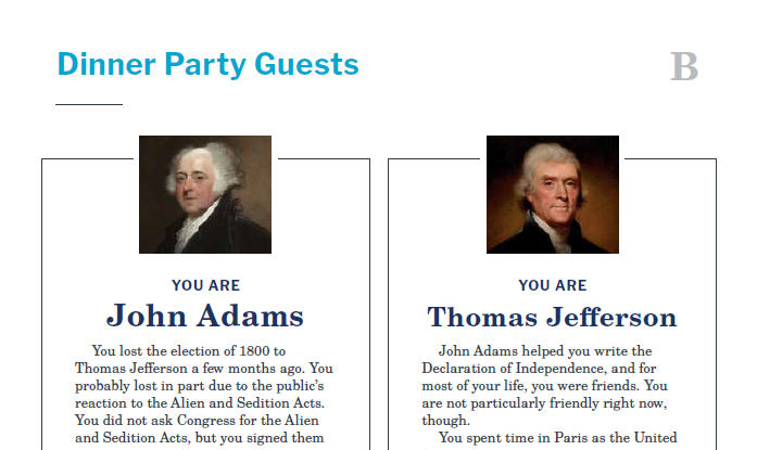 Presidents and the Constitution Handout B Dinner Party Guests