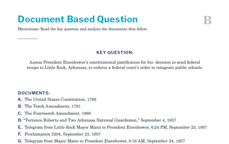 Presidents and the Constitution Handout B Document Based Question (Little Rock Crisis)