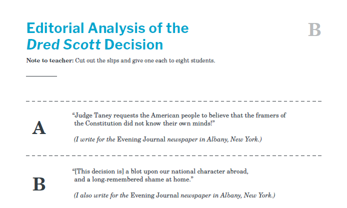 Slavery and the Constitution Handout B Editorial Analysis of the Dred Scott Decision