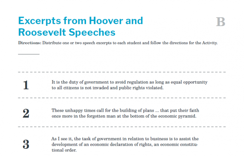 Presidents and the Constitution Handout B Excerpts from Hoover and Roosevelt Speeches