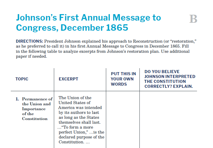 Presidents and the Constitution Handout B Johnson's First Annual Message to Congress December 1865