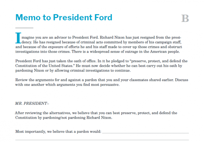 Presidents and the Constitution Handout B Memo to President Ford (The Resignation of Richard Nixon)