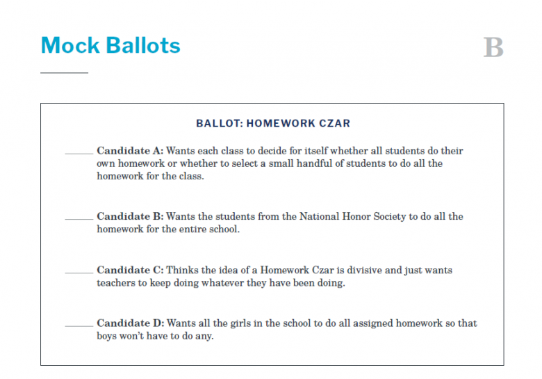Presidents and the Constitution Handout B Mock Ballots (The Election of 1860)