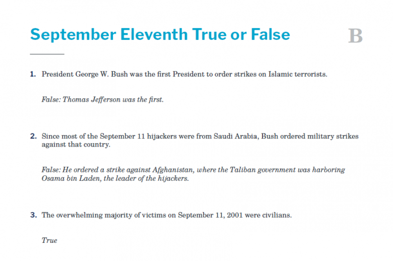 Presidents and the Constitution Handout B September Eleventh True or False