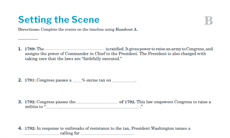 Presidents and the Constitution Handout B Setting the Scene The Whiskey Rebellion