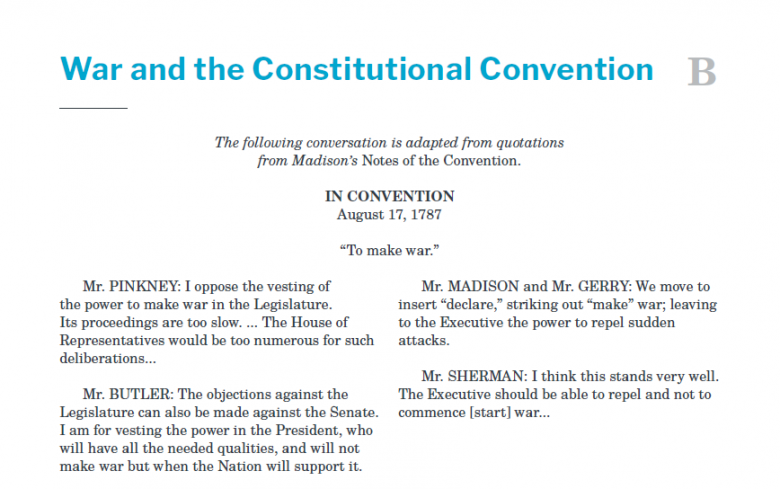 Presidents and the Constitution Handout B War and the Constitutional Convention