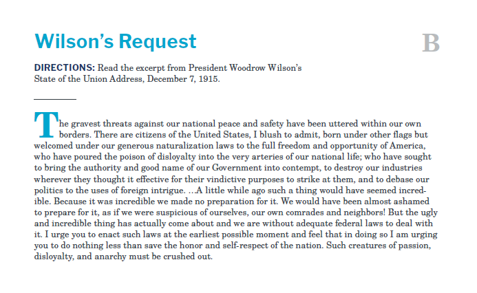 Presidents and the Constitution Handout B Wilsons Request